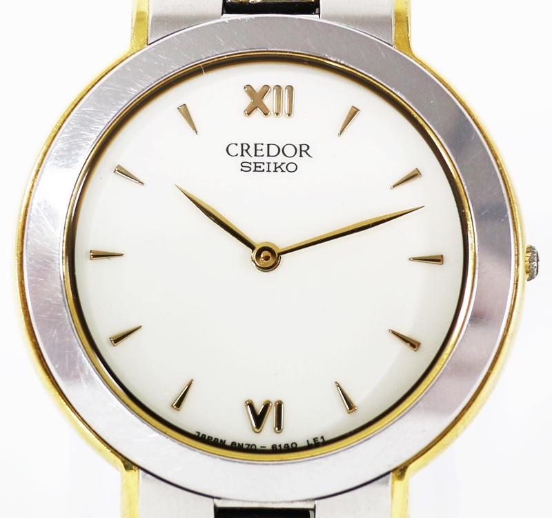 【時計】 SEIKO CREDOR セイコー クレドール 8N70-6160 SS+18KT MIDDLE メンズ腕時計 クォーツ 2019.8/1 電池交換済み
