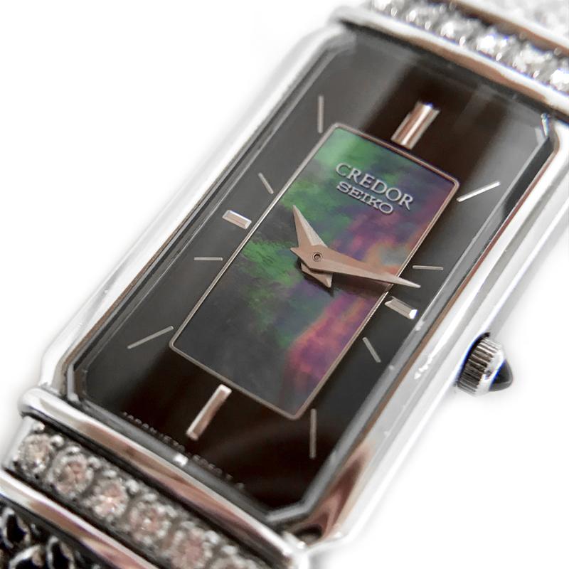 【時計】SEIKO セイコー CREDOR クレドール 1E70-3C10 ベゼルダイヤ ブラックシェル 18KT SS 電池交換済 【中古美品】