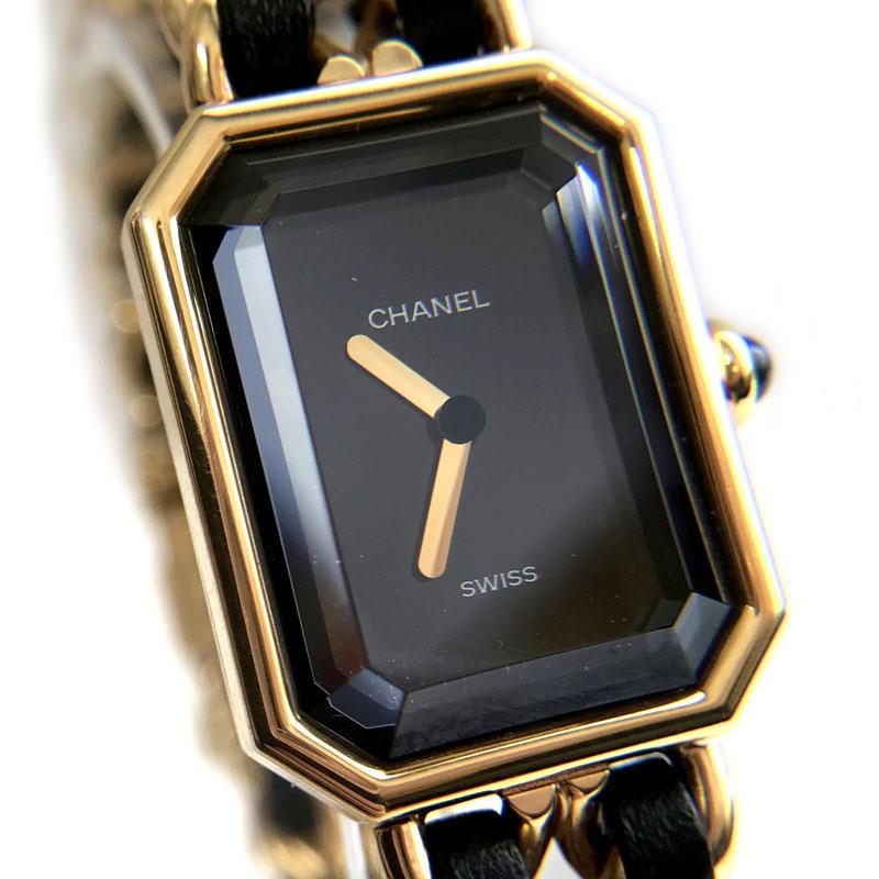 【時計】CHANEL シャネル プルミエール Lサイズ GP×革 Quartz 電池交換済【中古】