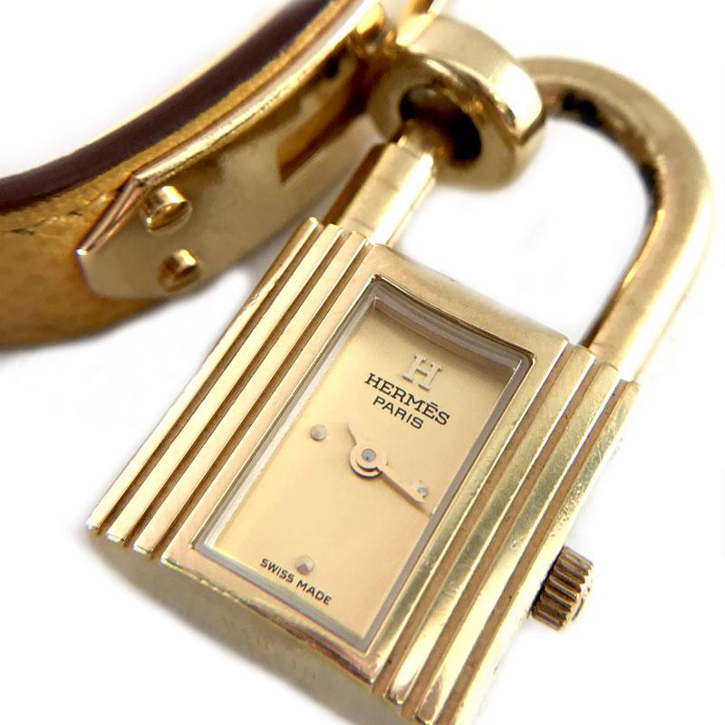 【時計】HERMES ケリーウォッチ Quartz GP 黄ベルト □B刻印 電池交換済【中古】