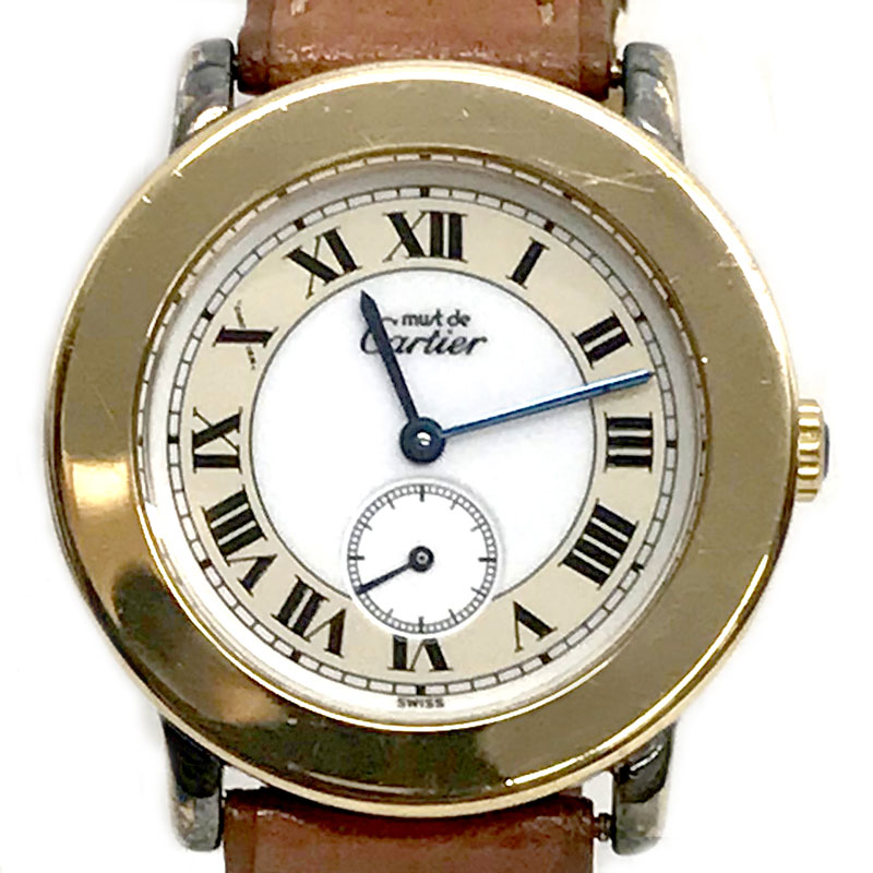 【時計】Cartier カルティエ マスト2 ロンド ヴェルメイユ ローマンインデックス 925 メンズ ユニセックス スモールセコンド 電池交換済【中古】