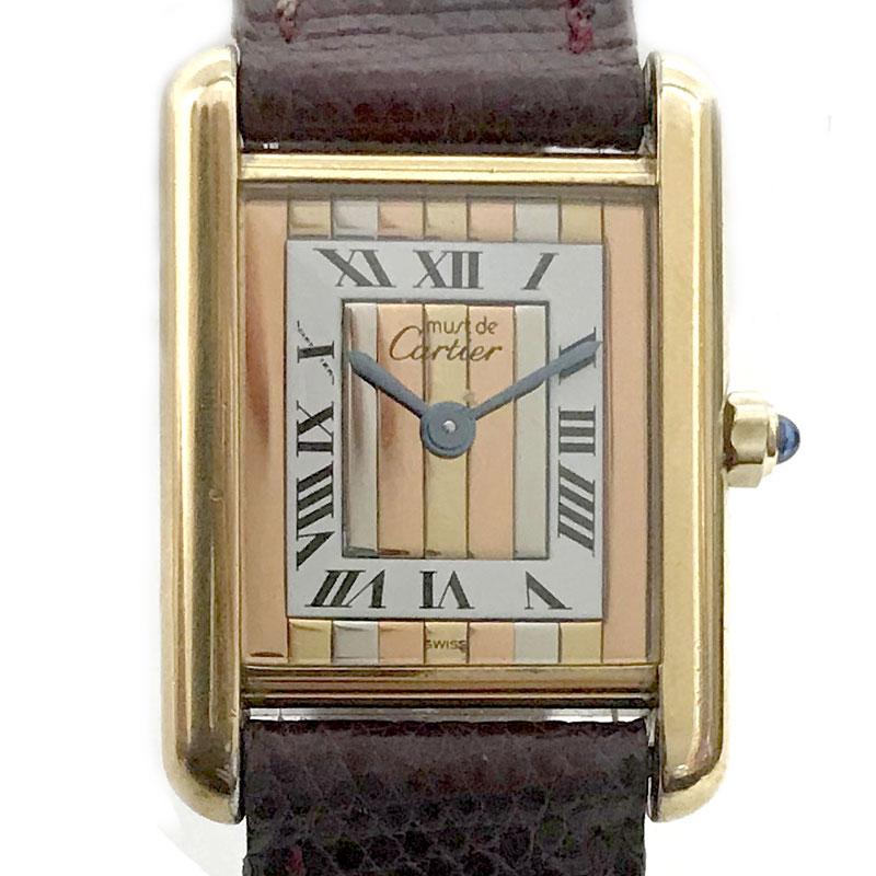 【時計】Cartier カルティエ マストタンク ヴェルメイユ ローマンインデックス 925 スリーカラー ストライプ レディース 電池交換済【中古】