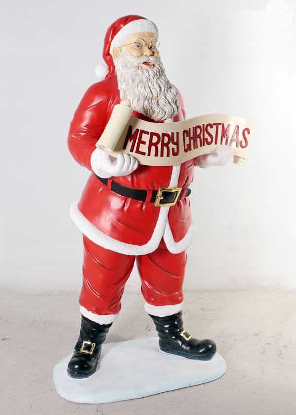 クリスマスを祝うサンタ / Santa with Christmas Banner
