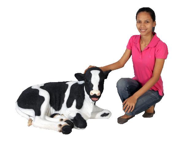 牛置物動物インテリアウシ横たわる仔牛 / Calf-Lying Down