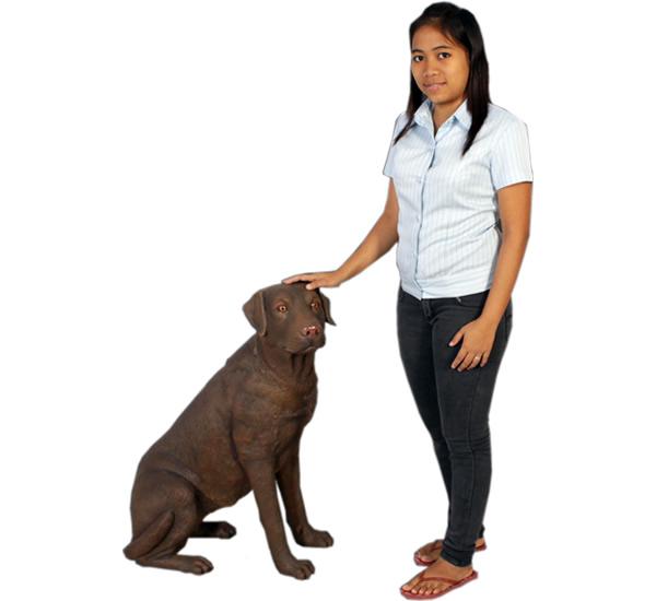 イヌ置物置物動物インテリア犬おすわりをするラブラドール(ブラウン) / Sitting Labrador BR【送料無料】