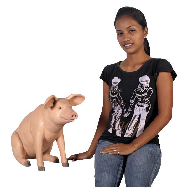置物動物インテリア動物オブジェ ブタゆかいな豚さん(小)BR / Sitting Pig Small fr020601BR