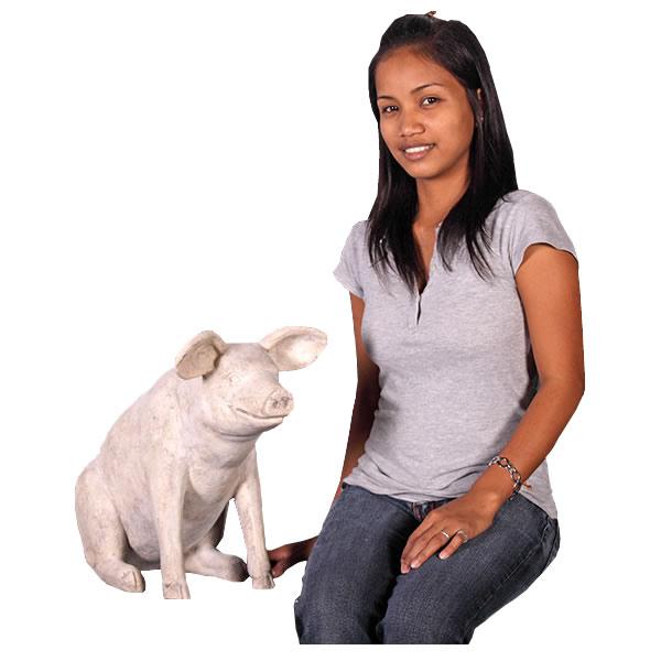置物動物インテリア動物オブジェ ゆかいな豚さん(小) / Sitting Pig Small fr020601RS