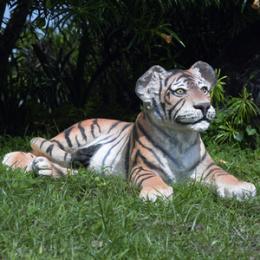 動物オブジェ 見つめる子タイガー / Tiger Cub - Lying Down fr080148【あす楽対応】