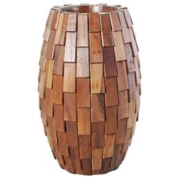 プランターオブジェ 鼓型プランター(木重柄) / Elonga Planter 30x65cm木片が重なり合った立体感のある模様がプラスチックのイメージを逸脱する縦型プランター