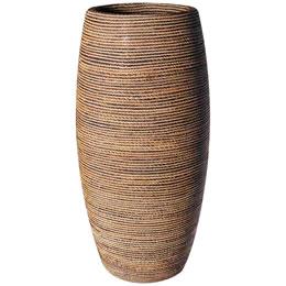 プランターオブジェ 鼓型プランター(縄編柄) / Elonga Planter 47x120cm縄で編み込んだような模様が民芸品にも見える縦型プランター