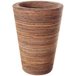 プランターオブジェ タンブラー型プランター(縄編柄) / Round Planter 48x97cm縄で編み込んだような模様が民芸品にも見える縦型プランター