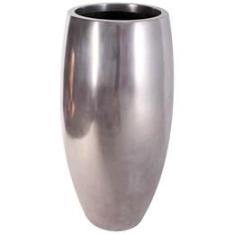 プランターオブジェ 鼓型プランター(アルミ) / Elonga Planter 47x120cmメタリックな色の縦型プランター。自宅の玄関やオフィスのワンポイントオブジェに