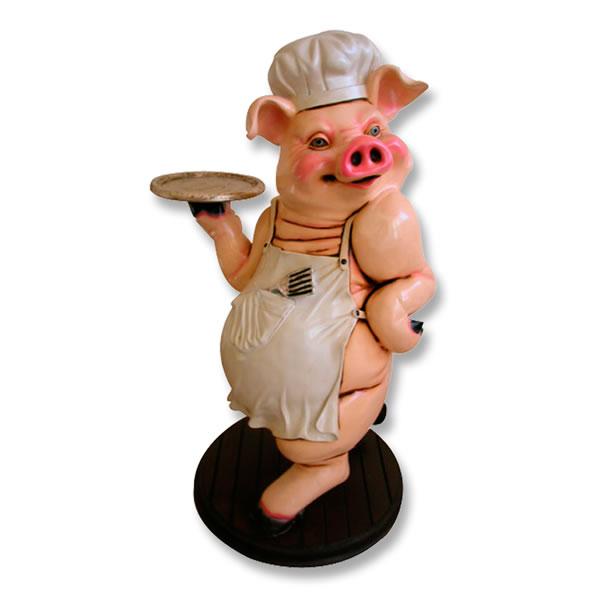 豚置物動物インテリアブタウェーター/シェフオブジェ 「豚さんの誘惑」