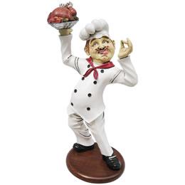 ウェーター/シェフオブジェ 出来上がったチキンに満足げなシェフ / Finger Lickin Chicken Chef