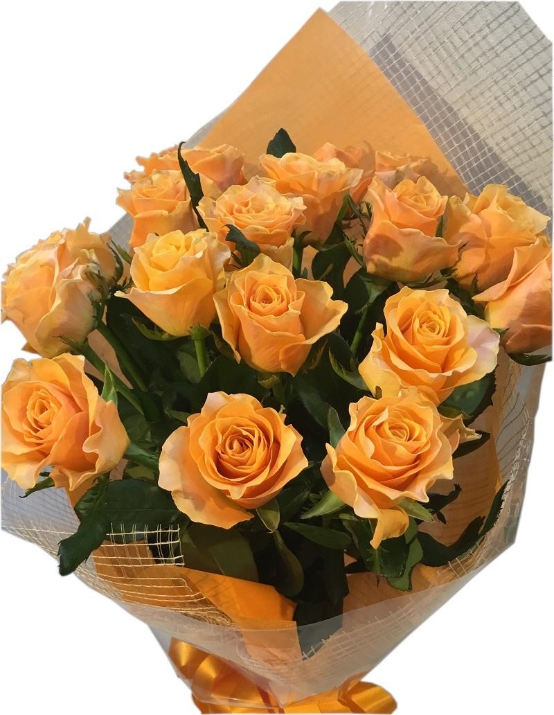 お誕生日 記念日 御礼 お祝い ばらの花束 国産 バラ オレンジ 豪華ギフトラッピング付き オレンジバラ花束【オレンジばら20本の花束】