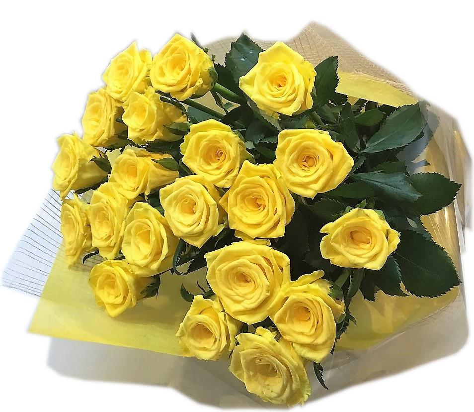 お誕生日 記念日 御礼 お祝い ばらの花束 国産 バラ 黄色 豪華ギフトラッピング付き 黄ばら花束【黄ばら20本の花束】