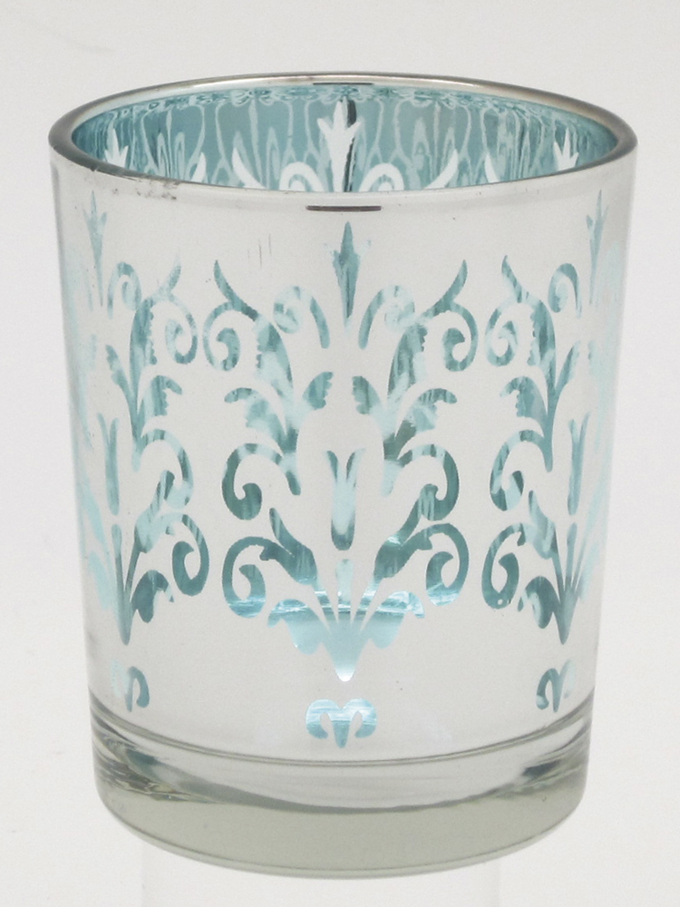 煌めくアラベスク模様のシルエットがゴージャスなガラスホルダー シルエットホルダーA キャンドルホルダー 通常便なら送料無料 パルマート お買い得品 ブルー
