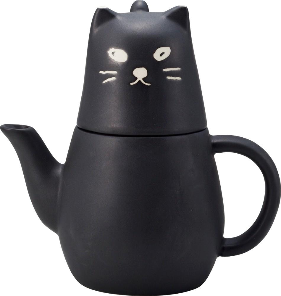 激安☆超特価 ポットとカップと茶越のついたクロネコのティーセットです くろねこのティーフォーワン 黒猫 直営限定アウトレット ティーセット《サンアート》 欠品中12月初旬入荷予定