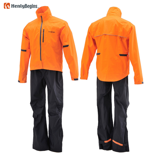 HenlyBegins HR-001 マイクロレインスーツ オレンジ 上下セット