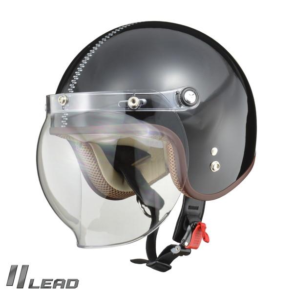 リード工業 NOVIA ノービア バブルシールド付き ジェットヘルメット ZIP.BK レディースフリー(55~57cm未満)
