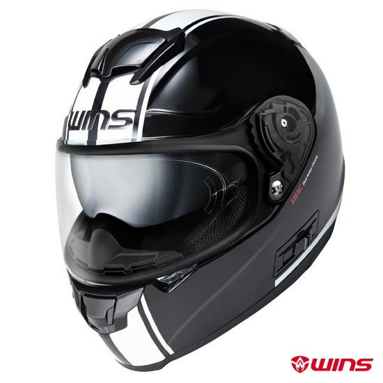 WINS FF-COMFORT GT STRIPE フルフェイスヘルメット 【ブラック×ホワイト:Mサイズ】
