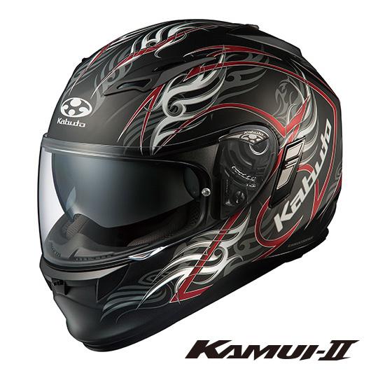 OGK KAMUI-2 TRIRUG カムイ2 トライラグ フルフェイスヘルメット 【フラットブラックレッド Mサイズ】