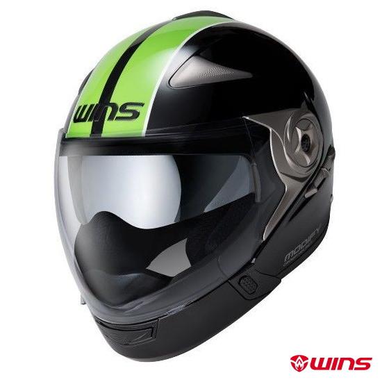 WINS MODIFY ADVANCE GT STRIPE チンガード付き ジェットヘルメット【ブラック×グリーン:XLサイズ】