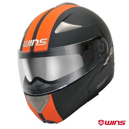 WINS MODIFY GT STRIPE システムヘルメット 【マットブラック×オレンジ:XLサイズ】