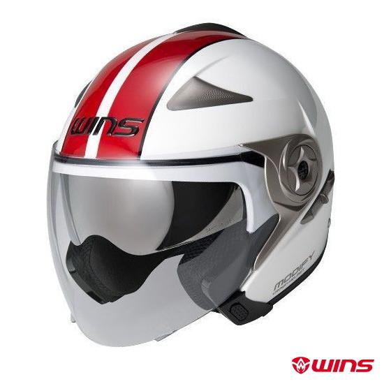 WINS MODIFY JET GT STRIPE ジェットヘルメット 【ホワイト×レッド:Mサイズ】