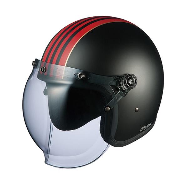 OGK ROCK G1(ロック・ジーワン) スモールジェット ヘルメット 【フラットブラックレッド フリーサイズ(57-59cm)】