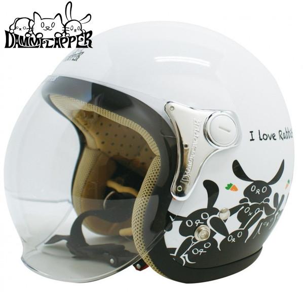 ダムフラッパー CARINA 【パールホワイト/ラビット レディースフリー(57-58cm)】 カリーナ ジェットヘルメット
