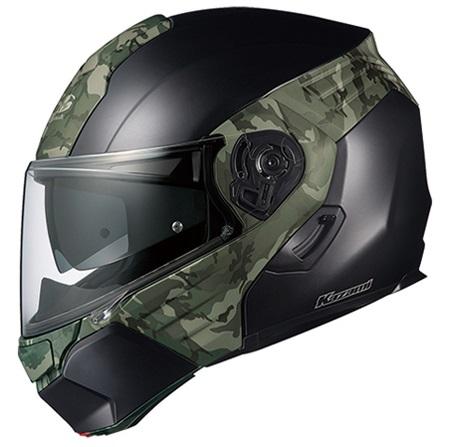 OGK KAZAMI CAMO (カザミ カモ) 【フラットブラック/グリーン XLサイズ】 システムヘルメット