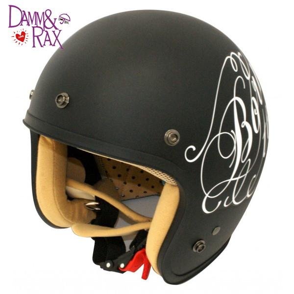 ダムトラックス JET-D LOVE&ROCK 【フラットブラック レディースフリー(57-58cm未満)】 ラブ&ロック スモールジェットヘルメット