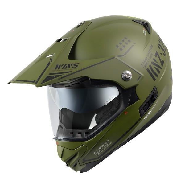 WINS X-ROAD COMBAT 【マットアーミーグリーン×ブラック XLサイズ】 コンバット インナーバイザー付き デュアルパーパスヘルメット