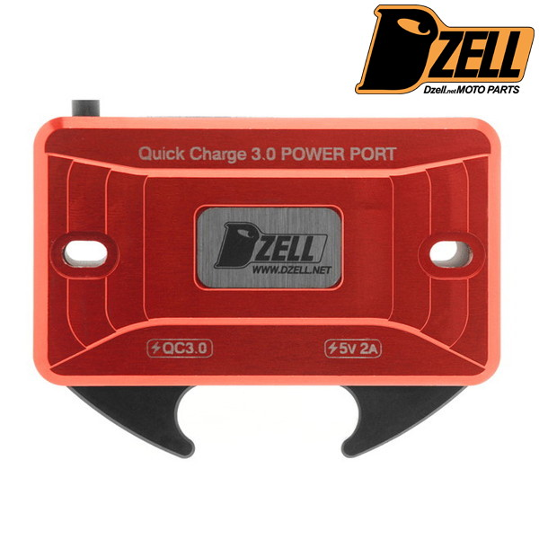 Dzell USBポート リザーブタンク ボルトオンタイプ 2ポート Y/B(レッド)
