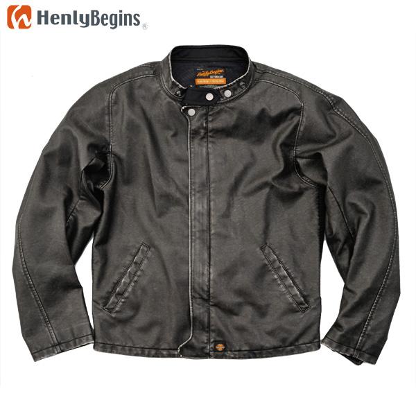 Henly Begins(ヘンリービギンズ) フェイクレザー ライダースジャケット(ブラック) HBJ-048
