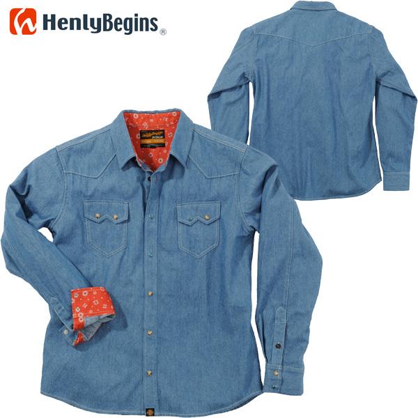 HenlyBegins プロテクター対応 デニムシャツ ライトブルー NHB-1502