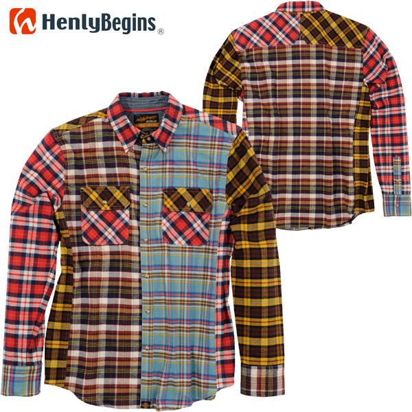 HenlyBegins プロテクター対応 ネルシャツ MIX NHB-1504