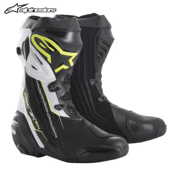alpinestars SUPERTECH-R BOOT 2220015 レーシングブーツ (BLACK YELLOW FLUO WHITE)