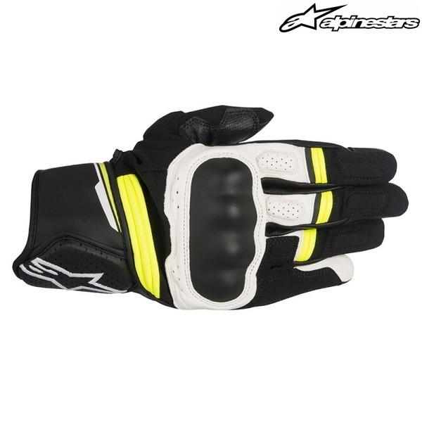 alpinestars BOOSTER GLOVE 3566917 レザーグローブ (BLACK/WHITE/YELLOW FLUO)