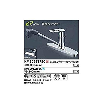 KVK 流し台用シングルレバー式シャワー付混合栓 シャワー固定式 eレバーKM5091ZTFEC【smtb-s】