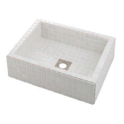 カクダイ 493-143-W 角型洗面器//ホワイト【smtb-s】