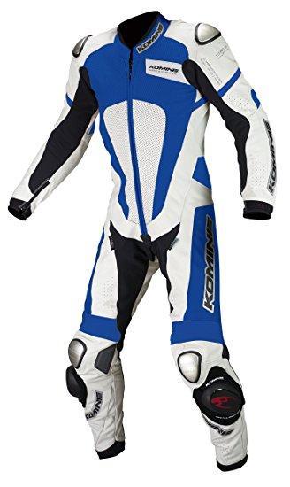コミネ(Komine) S-51 Titanium Leather Suit White/Blue L 02-051/WH/BL/L【smtb-s】