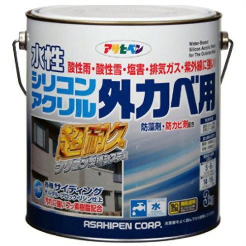 アサヒペン 水性シリコンアクリル外かべ用3KGアイボリー【入数:4】【smtb-s】