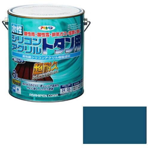 アサヒペン 水性シリコンアクリルトタン用3Lオーシャンブルー【入数:4】【smtb-s】