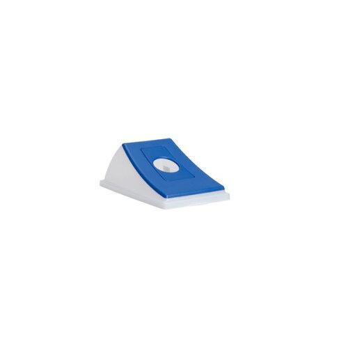 テラモト エコン ダストボックス#45透明 蓋 ブルー ビンカン用 丸穴(DS2206033)【入数:24】【smtb-s】