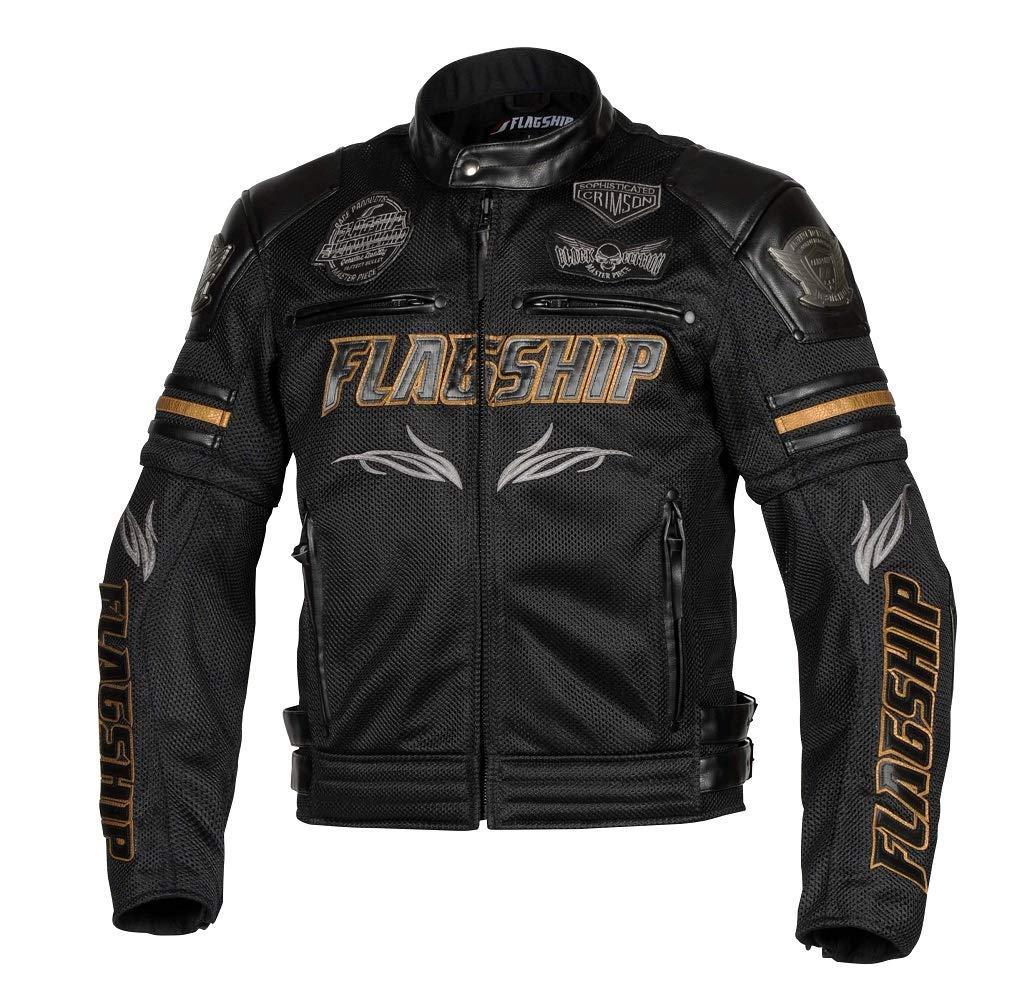 フラッグシップ(Flagship) FLAGSHIP FJ-S196G Vertex Mesh Jacket (バーテックスメッシュジャケット) Black&Gold M 品番:FJ-S196G-M-BK/GD【smtb-s】