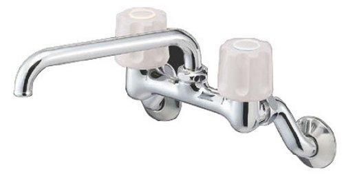 YAZAWA ツーバルブ混合栓 壁付混合栓 キッチン用 パイプ上向きタイプ パイプ長さ:170mm U-MIX K21-LH【smtb-s】