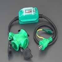 エスコ 15A/1m [防雨型]過負荷・漏電保護兼用プラグ (EA940MH-13)【smtb-s】