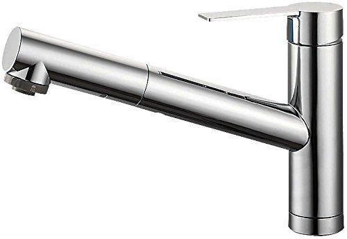 YAZAWA シングルワンホールスプレー混合栓 節水水栓 キッチン用 ホース引出し式 寒冷地用 column K87501JK【smtb-s】